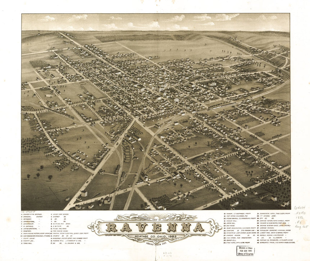 8 x 12 Reproduced Photo of Vintage Old Perspective Birds Eye View Map or Drawing of: Panoramic Ravenna, county seat of Portage Co., Ohio 1882. Ruger, A. 1882