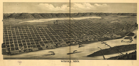 8 x 12 Reproduced Photo of Vintage Old Perspective Birds Eye View Map or Drawing of: Winona, Minn. 1889. Pauli, C. J. 1889