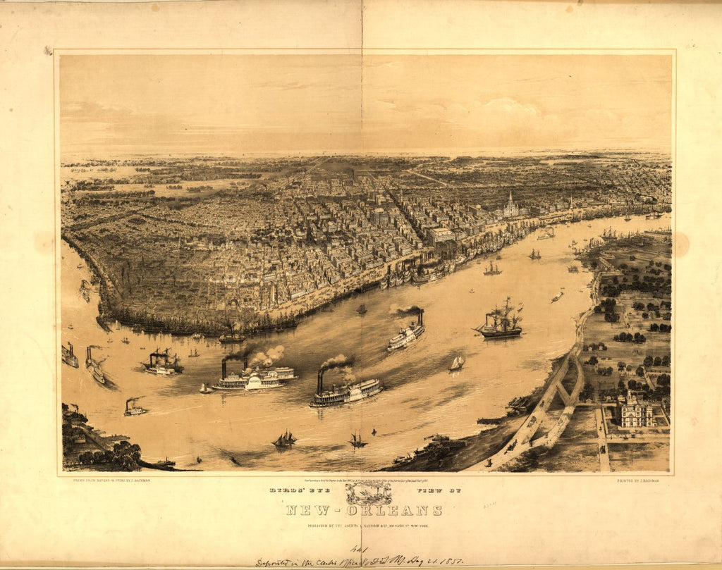 8 x 12 Reproduced Photo of Vintage Old Perspective Birds Eye View Map or Drawing of: Birds' eye New-Orleans / drawn from nature on stone by J. Bachman [i.e., Bachmann]. Bachmann, John, artist 1851