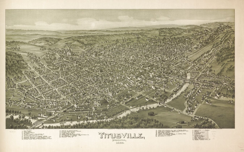 8 x 12 Reproduced Photo of Vintage Old Perspective Birds Eye View Map or Drawing of: Titusville, Pennsylvania 1896.  Fowler, T. M. - Moyer, James - Fowler, T. M.  1896