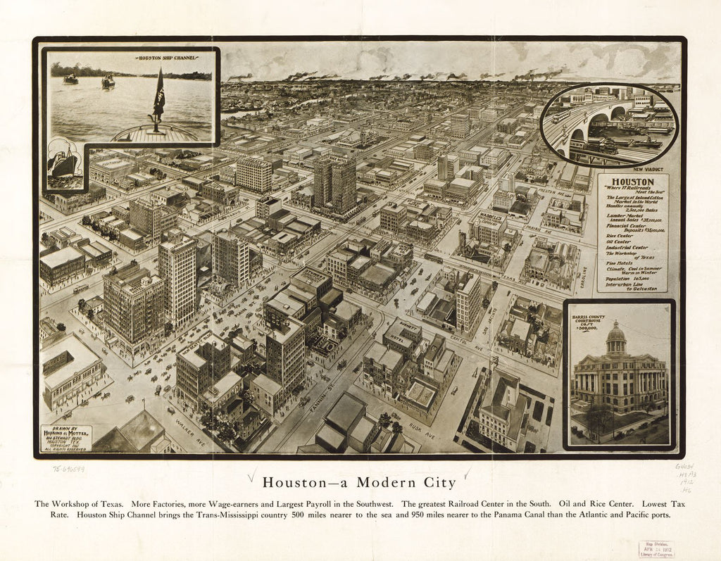 8 x 12 Reproduced Photo of Vintage Old Perspective Birds Eye View Map or Drawing of: Houston--a modern city. Hopkins & Motter. c1912