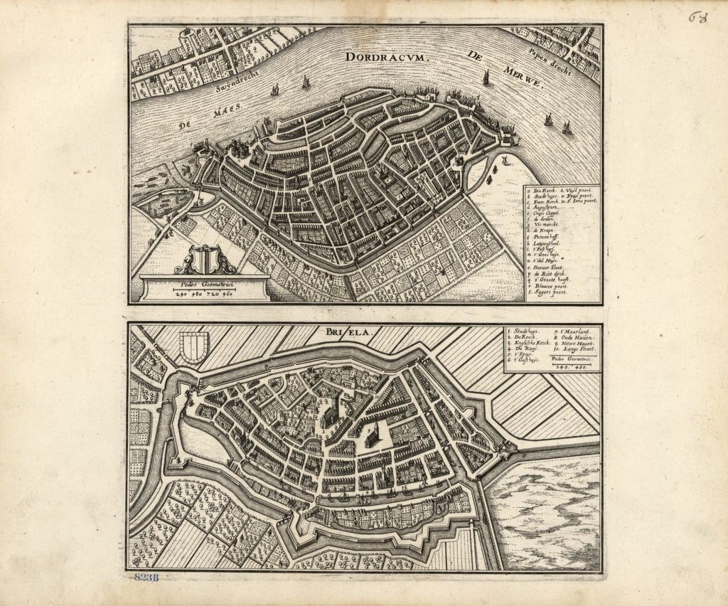 8 x 12 Reproduced Photo of Vintage Old Perspective Birds Eye View Map or Drawing of: Dordracvm ; Briela. Merian, Matthaeus 1646
