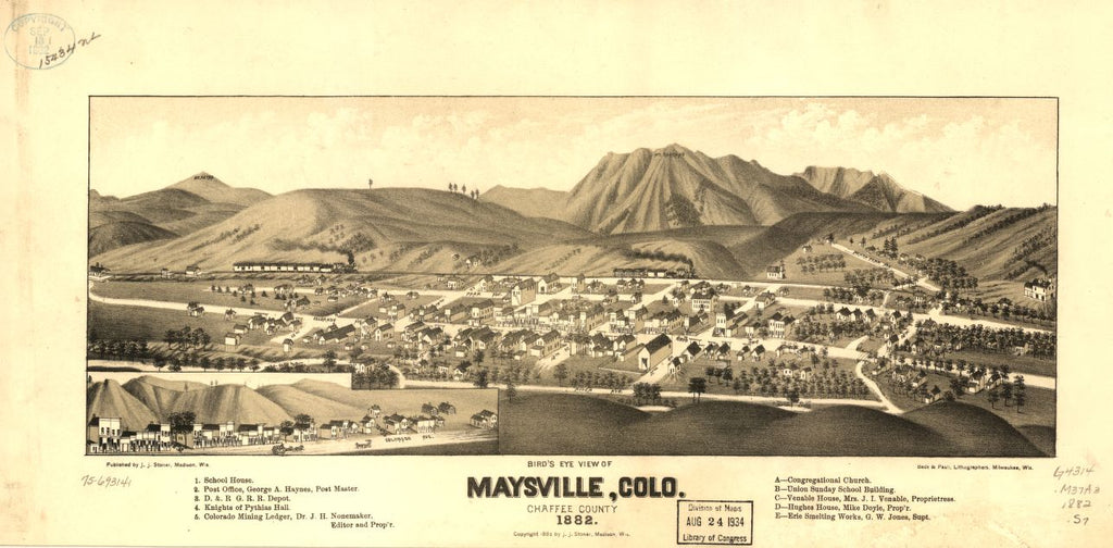 8 x 12 Reproduced Photo of Vintage Old Perspective Birds Eye View Map or Drawing of: Maysville, Colo. Chaffee County 1882. Stoner, J. J. c1882