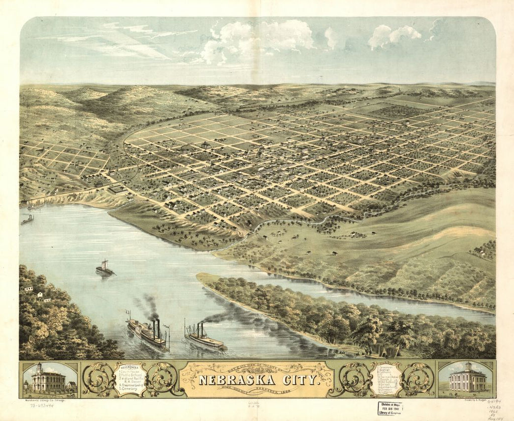 8 x 12 Reproduced Photo of Vintage Old Perspective Birds Eye View Map or Drawing of: Nebraska City, Otoe County, Nebraska 1868. Ruger, A.Merchant's Lithographing Company. 1868
