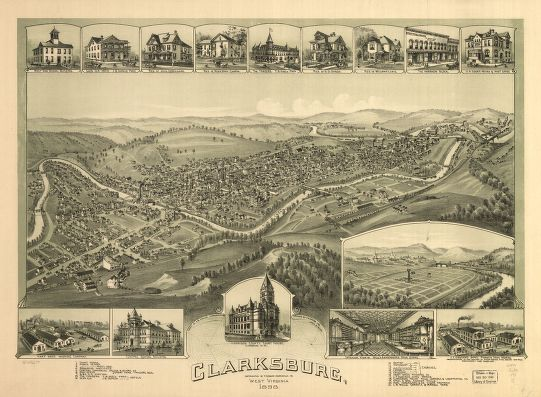 8 x 12 Reproduced Photo of Vintage Old Perspective Birds Eye View Map or Drawing of: Clarksburg, West Virginia 1898. Fowler, T. M. (Thaddeus Mortimer), 1842-1922.Moyer, James B. 1898