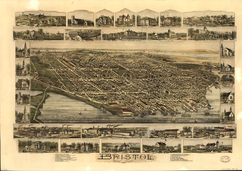8 x 12 Reproduced Photo of Vintage Old Perspective Birds Eye View Map or Drawing of: Bristol, Rhode Island  O.H. Bailey & Co.  1891