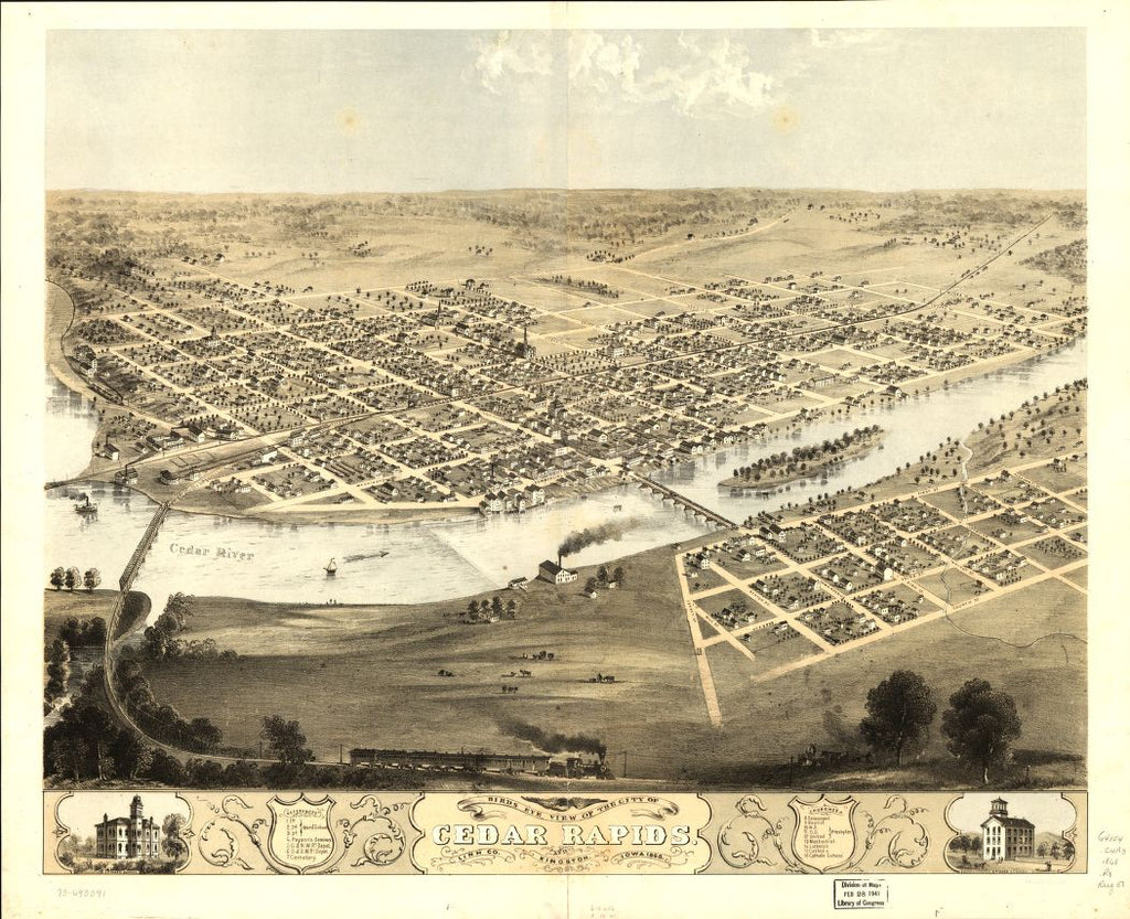 8 x 12 Reproduced Photo of Vintage Old Perspective Birds Eye View Map or Drawing of: Cedar Rapids and Kingston, Linn Co., Iowa 1868. Ruger, A. 1868