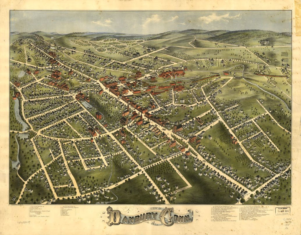8 x 12 Reproduced Photo of Vintage Old Perspective Birds Eye View Map or Drawing of: Danbury, Conn. 1875. Bailey, O. H. (Oakley Hoopes) - C.H. Vogt & Son - J. Knauber & Co. - Fowler & Bailey - Bailey, O. H.  1875
