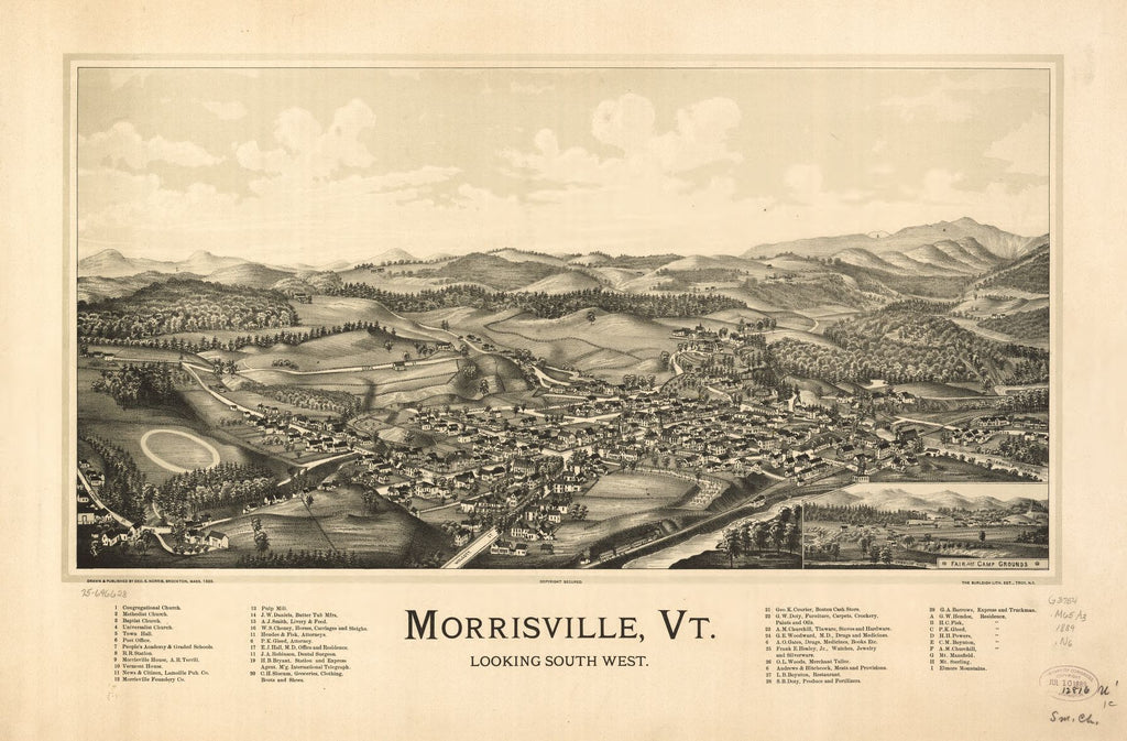 8 x 12 Reproduced Photo of Vintage Old Perspective Birds Eye View Map or Drawing of: Morrisville, Vt.   Norris, George E. - Burleigh Litho  1889