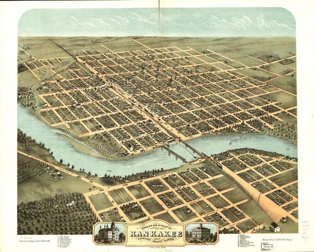 8 x 12 Reproduced Photo of Vintage Old Perspective Birds Eye View Map or Drawing of: Kankakee, Kankakee County, Illinois 1869. Ruger, A. 1869