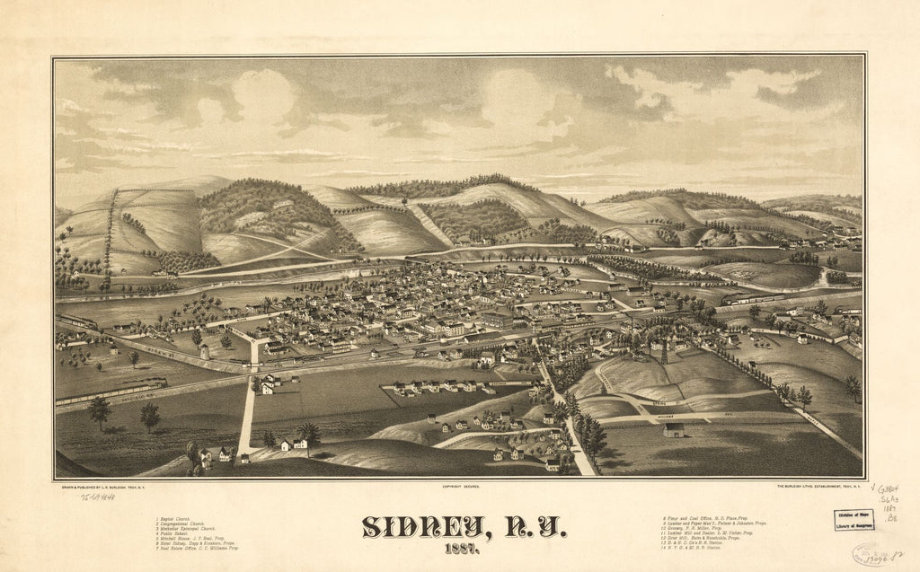 8 x 12 Reproduced Photo of Vintage Old Perspective Birds Eye View Map or Drawing of: Sidney, N.Y. 1887. Burleigh, L. R. (Lucien R.) - Burleigh Litho - Burleigh, L. R. 1887