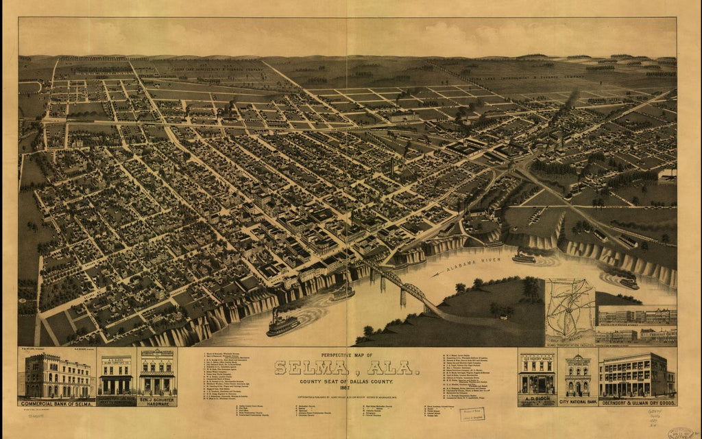 8 x 12 Reproduced Photo of Vintage Old Perspective Birds Eye View Map or Drawing of: Selma, Ala. county seat of Dallas County 1887. Wellge, H. (Henry)Beck & Pauli.Henry Wellge & Co. 1887