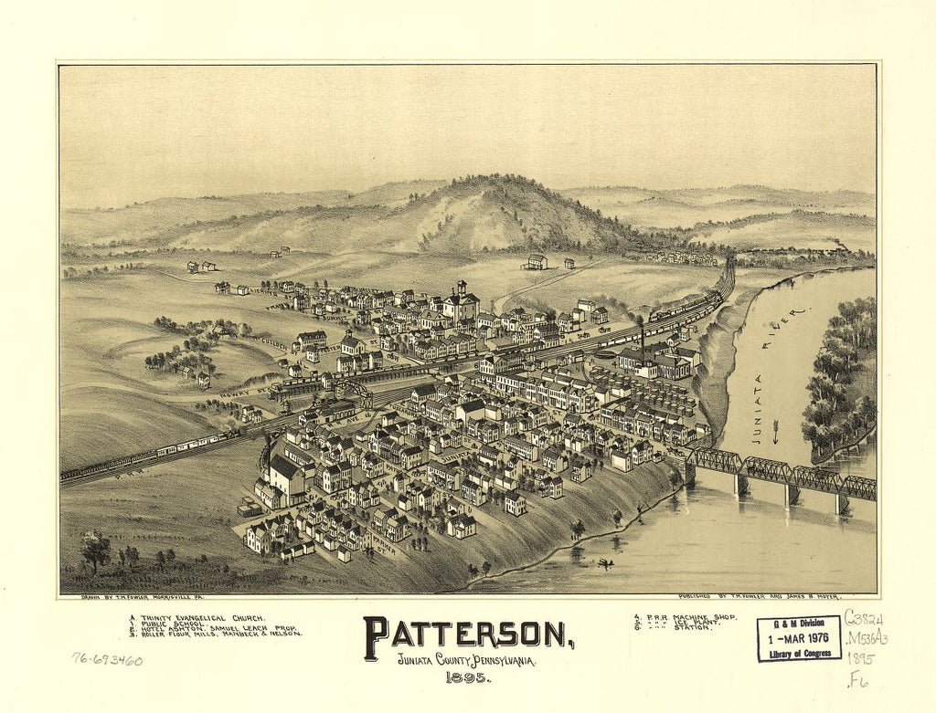 8 x 12 Reproduced Photo of Vintage Old Perspective Birds Eye View Map or Drawing of: Patterson, Juniata County, Pennsylvania. Fowler, T. M. - Moyer, James - Fowler, T. M. 1895