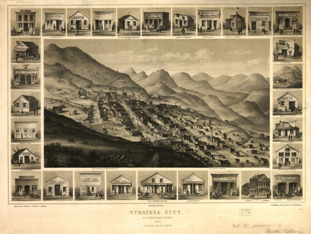 8 x 12 Reproduced Photo of Vintage Old Perspective Birds Eye View Map or Drawing of: Virginia City, Nevada Territory, 1861 / drawn from nature by Grafton T. Brown ; C.C. Kuchel, lith Kuchel, Charles Conrad 1861