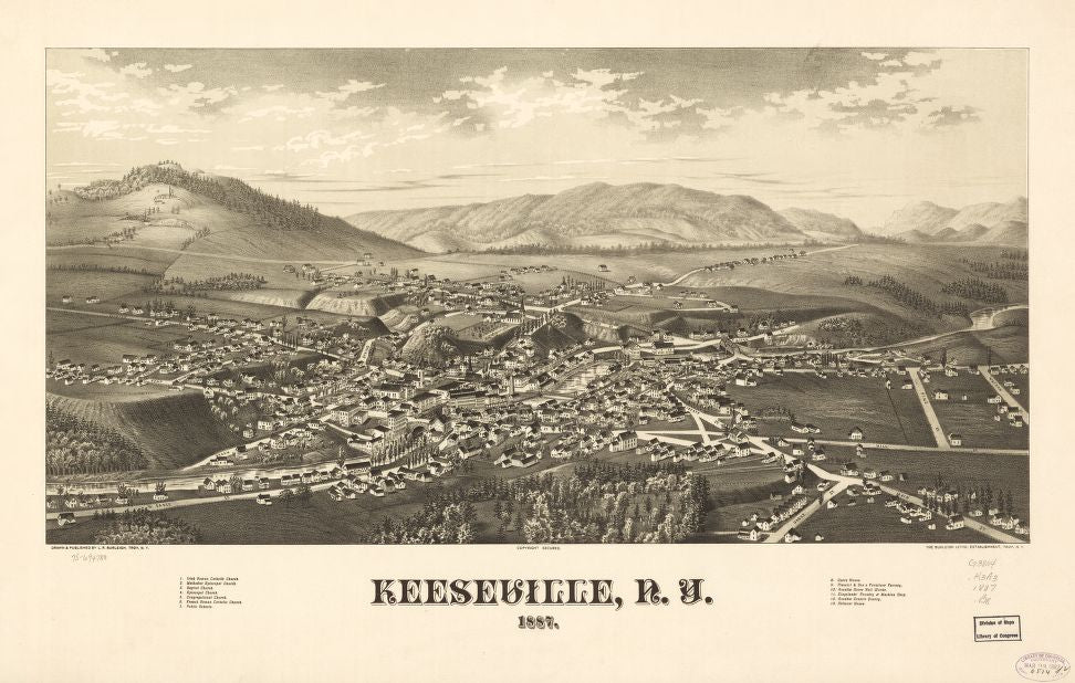8 x 12 Reproduced Photo of Vintage Old Perspective Birds Eye View Map or Drawing of: Keeseville, N.Y. 1887. Burleigh, L. R. (Lucien R.) - Burleigh Litho - Burleigh, L. R. 1887