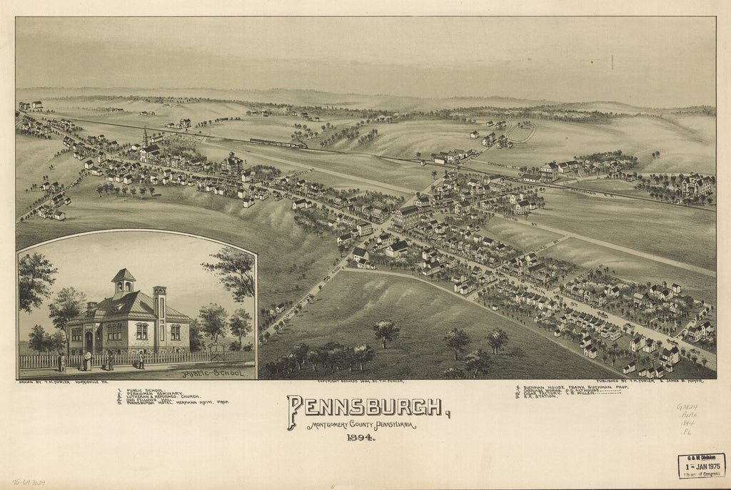 8 x 12 Reproduced Photo of Vintage Old Perspective Birds Eye View Map or Drawing of: Pennsburgh, Montgomery County, Pennsylvania 1894. Fowler, T. M. - Moyer, James - Fowler, T. M. 1894