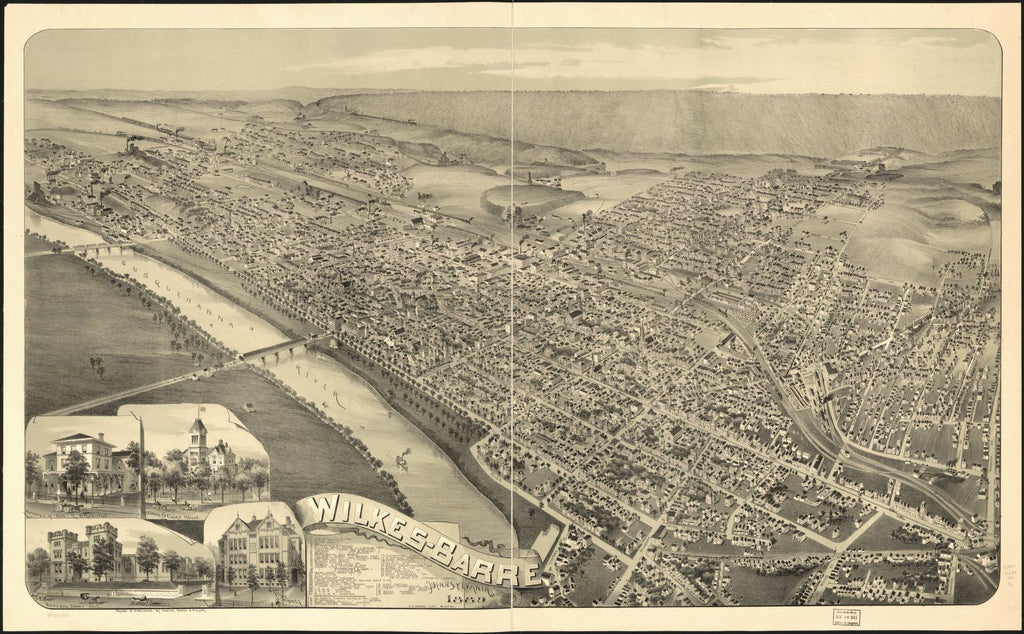 8 x 12 Reproduced Photo of Vintage Old Perspective Birds Eye View Map or Drawing of: Wilkes-Barre, Pennsylvania 1889.  Fowler, Downs & Moyer - Downs, A. E. (Albert E)  1889