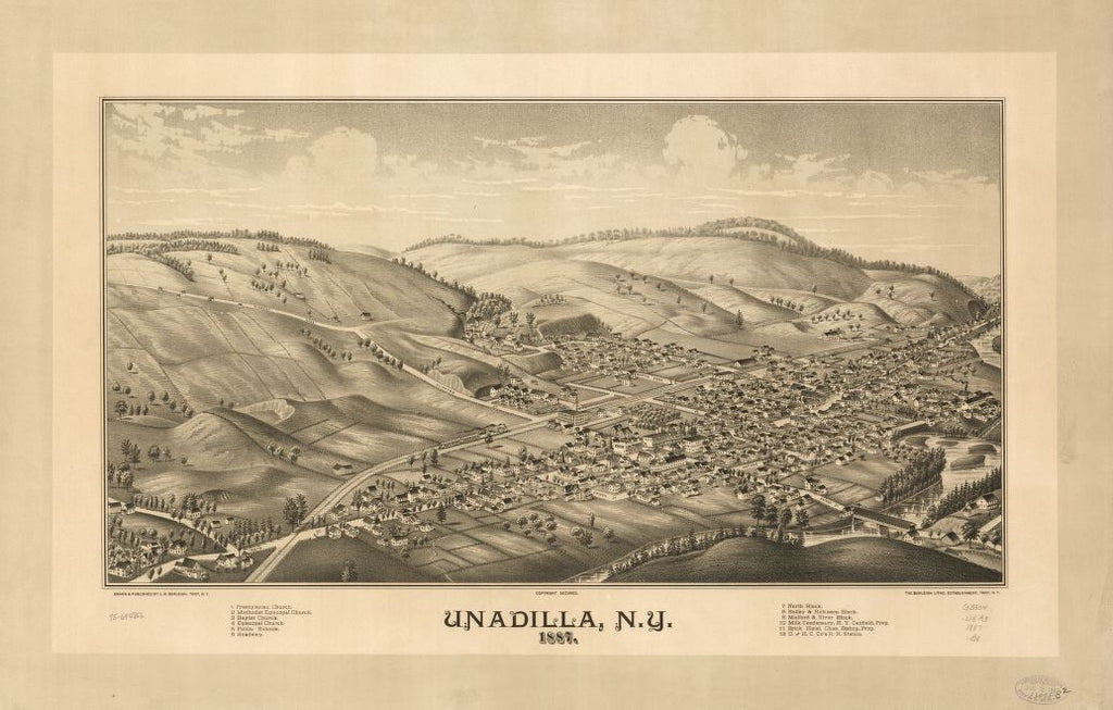 8 x 12 Reproduced Photo of Vintage Old Perspective Birds Eye View Map or Drawing of: Unadilla, N.Y. 1887. Burleigh, L. R. (Lucien R.) - Burleigh Litho - Burleigh, L. R. 1887