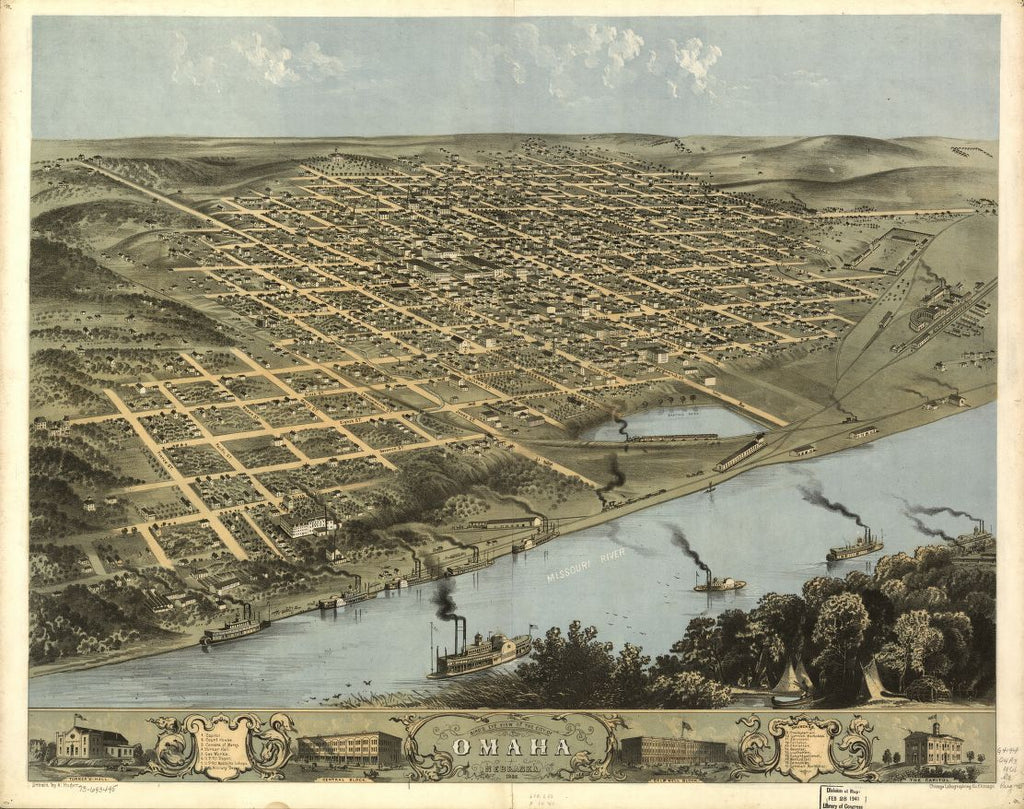 8 x 12 Reproduced Photo of Vintage Old Perspective Birds Eye View Map or Drawing of: Omaha, Nebraska 1868. Ruger, A. 1868
