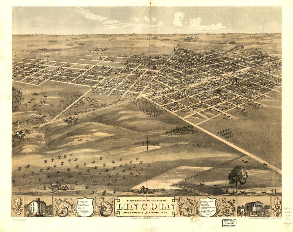 8 x 12 Reproduced Photo of Vintage Old Perspective Birds Eye View Map or Drawing of: Lincoln, Logan County, Illinois 1869. Ruger, A. 1869