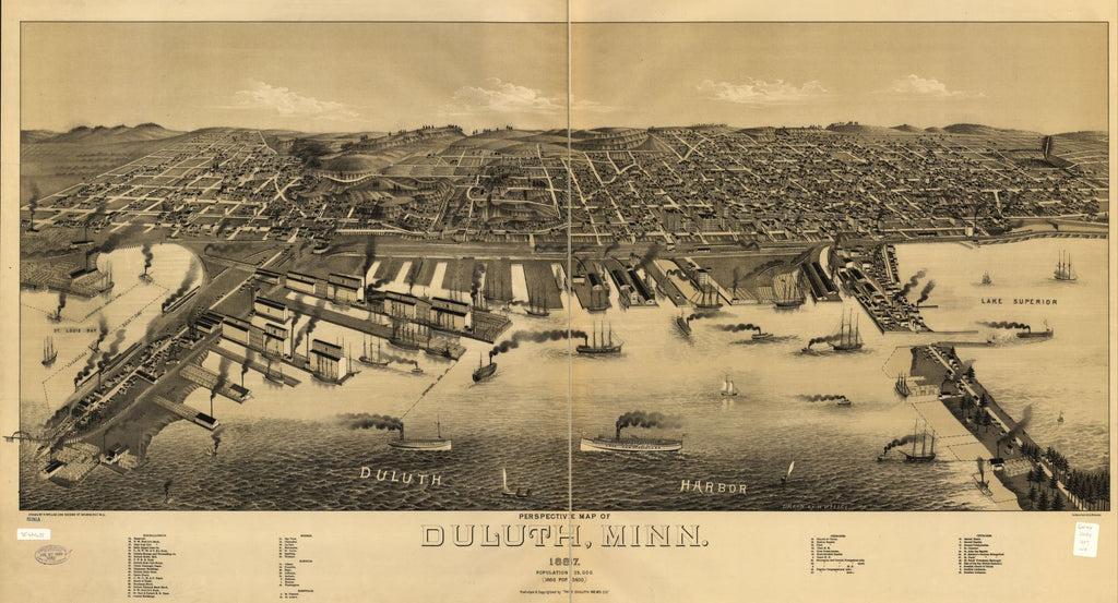 8 x 12 Reproduced Photo of Vintage Old Perspective Birds Eye View Map or Drawing of: Duluth, Minn. 1887. Wellge, H. (Henry) 1887