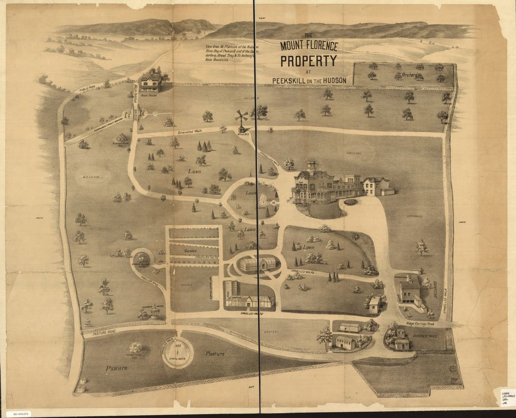8 x 12 Reproduced Photo of Vintage Old Perspective Birds Eye View Map or Drawing of: The Mount Florence property at Peekskill on the Hudson. none 1890