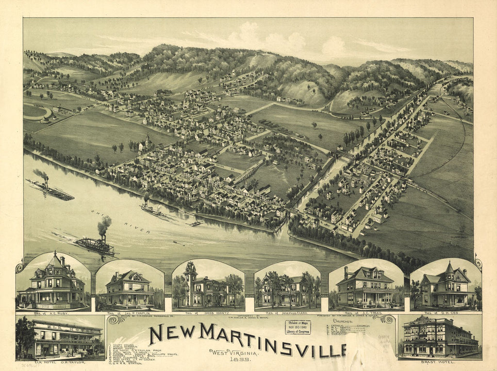 8 x 12 Reproduced Photo of Vintage Old Perspective Birds Eye View Map or Drawing of: New Martinsville, West Virginia 1899. Fowler, T. M. (Thaddeus Mortimer), 1842-1922.Moyer, James B. 1899