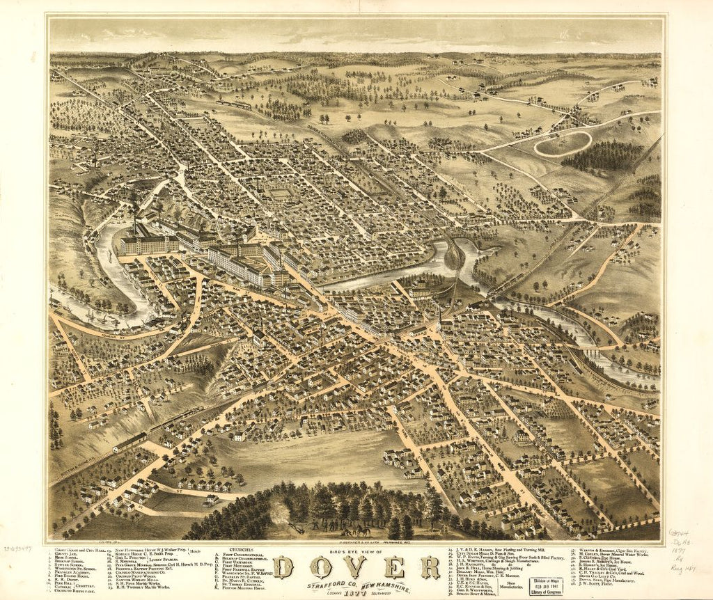 8 x 12 Reproduced Photo of Vintage Old Perspective Birds Eye View Map or Drawing of: Dover, Strafford Co., New Hampshire 1877.  Ruger, A. - D. Bremner Co.  1877