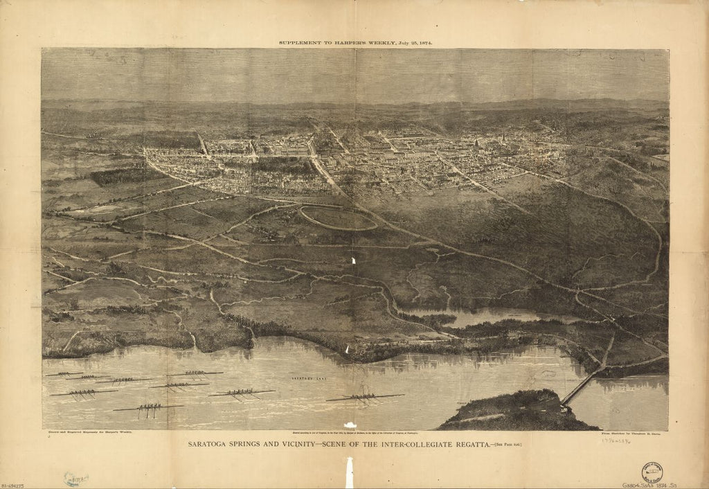 8 x 12 Reproduced Photo of Vintage Old Perspective Birds Eye View Map or Drawing of: Saratoga Springs and vicinity : scene of the inter-collegiate regatta : [see page 626]. Davis, Theodore R. - Harper & Brothers 1874