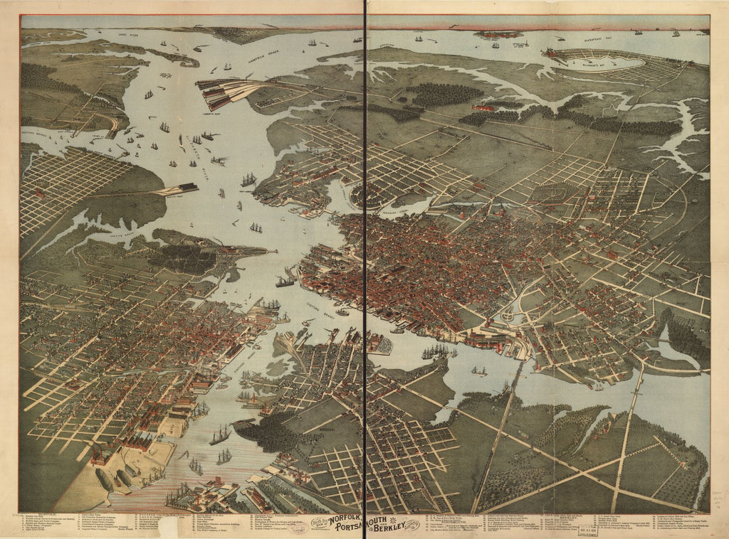 8 x 12 Reproduced Photo of Vintage Old Perspective Birds Eye View Map or Drawing of: Norfolk, Portsmouth and Berkley, Norfolk Co., Va. Koch, Augustus, 1840- 1891?