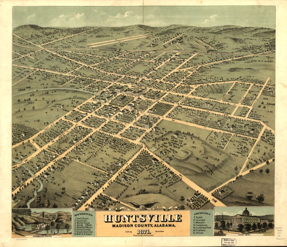 8 x 12 Reproduced Photo of Vintage Old Perspective Birds Eye View Map or Drawing of: Huntsville, Madison County, Alabama 1871. [Ruger, A.]Ehrgott & Krebs Lith. 1871