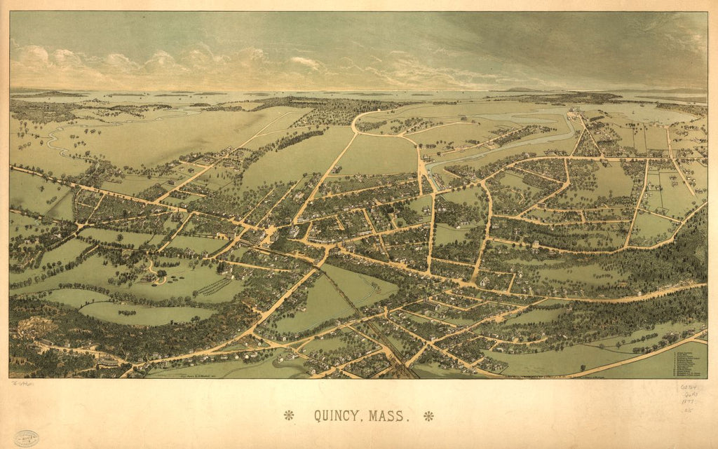 8 x 12 Reproduced Photo of Vintage Old Perspective Birds Eye View Map or Drawing of: Quincy, Mass.  Whitefield, Edwin  1877