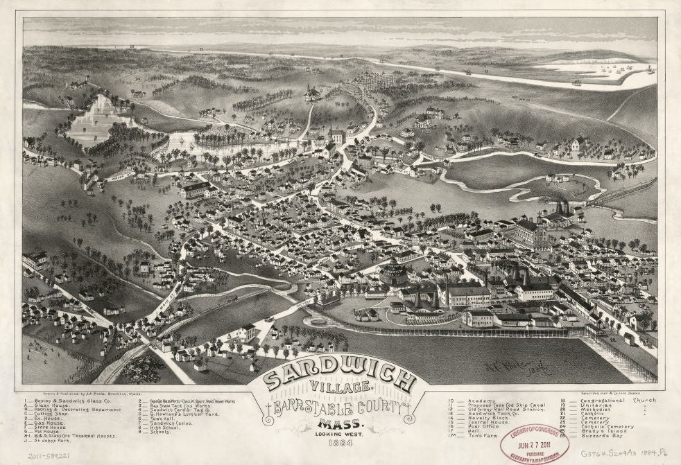 8 x 12 Reproduced Photo of Vintage Old Perspective Birds Eye View Map or Drawing of: Sandwich Village, Barnstable County, Mass., looking west, 1884  Poole, A. F. - Geo. H. Walker & Co.  1884