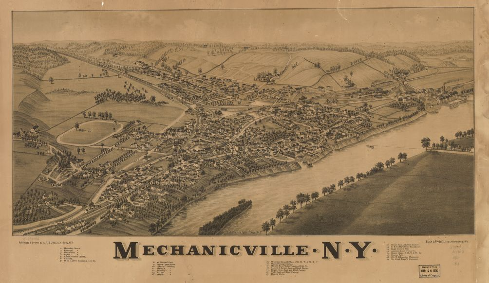 8 x 12 Reproduced Photo of Vintage Old Perspective Birds Eye View Map or Drawing of: Mechanicville, N.Y. Burleigh, L. R. (Lucien R.) - Beck & Pauli - Burleigh, L. R. 1880