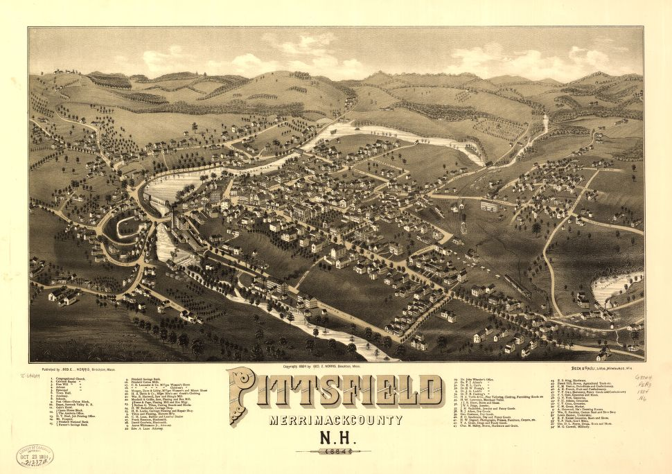 8 x 12 Reproduced Photo of Vintage Old Perspective Birds Eye View Map or Drawing of: Pittsfield, Merrimackcounty, N.H. 1884.  Norris, George E. - Beck & Pauli  1884