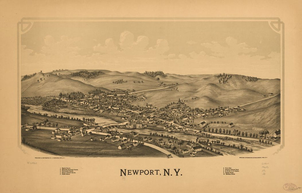 8 x 12 Reproduced Photo of Vintage Old Perspective Birds Eye View Map or Drawing of: Newport, N.Y. Burleigh, L. R. (Lucien R.) - Burleigh Litho - Burleigh, L. R. 1890