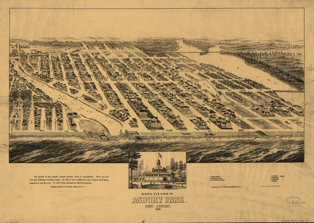 8 x 12 Reproduced Photo of Vintage Old Perspective Birds Eye View Map or Drawing of: Asbury Park, New Jersey, 1881. Fowler, T. M. - Fowler, T. M. 1881