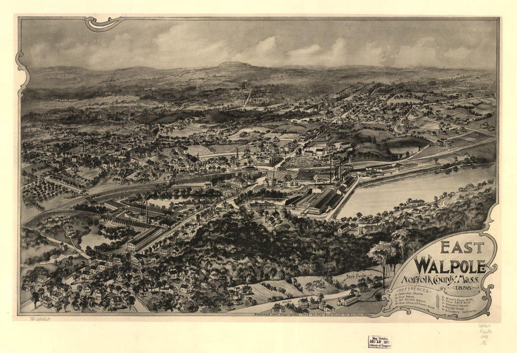 8 x 12 Reproduced Photo of Vintage Old Perspective Birds Eye View Map or Drawing of: East Walpole, Norfolk County, Mass. 1898. Poole, A. F. - Bert Poole Co.  1898