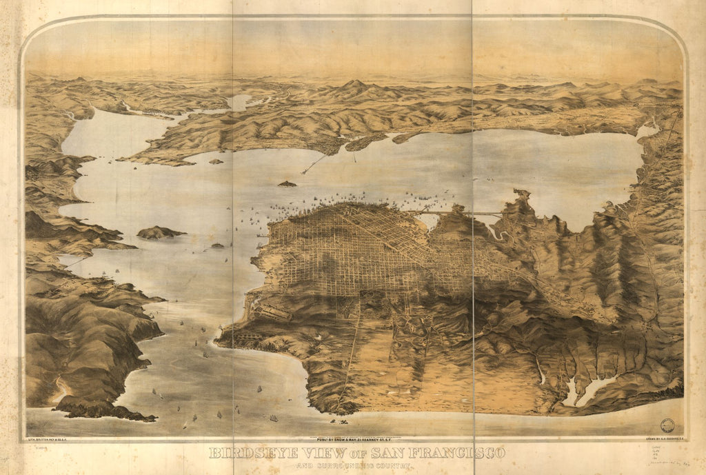 8 x 12 Reproduced Photo of Vintage Old Perspective Birds Eye View Map or Drawing of: Birdseye San Francisco and surrounding country. Goddard, G. H. c1876