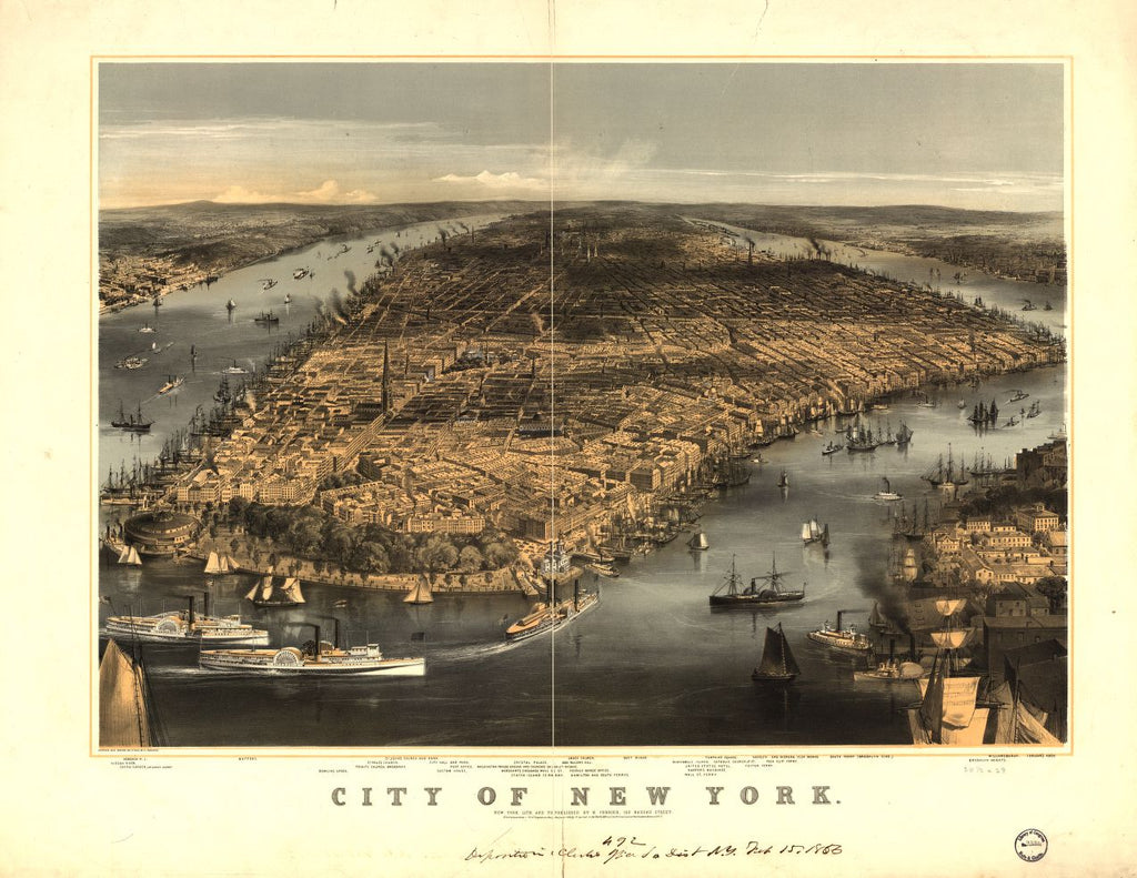8 x 12 Reproduced Photo of Vintage Old Perspective Birds Eye View Map or Drawing of: New York / sketched and drawn on stone by C. Parsons. N. Currier (Firm), publisher 1856