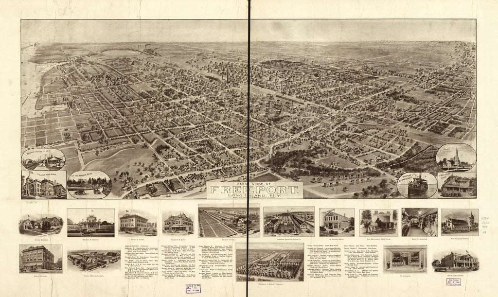8 x 12 Reproduced Photo of Vintage Old Perspective Birds Eye View Map or Drawing of: Freeport, Long Island, N.Y. 1909. Hughes & Bailey 1909