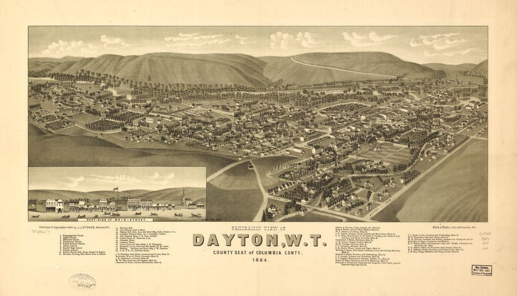 8 x 12 Reproduced Photo of Vintage Old Perspective Birds Eye View Map or Drawing of: Panoramic Dayton, W.T., county seat of Columbia County 1884. Wellge, H. (Henry) 1884