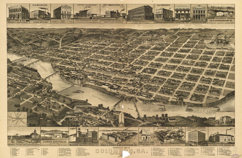 8 x 12 Reproduced Photo of Vintage Old Perspective Birds Eye View Map or Drawing of: Columbus, Ga., county seat [of Muscogee Cou]nty, 188[6]. Wellge, H. (Henry)Beck & Pauli.Henry Wellge & Co. 1886