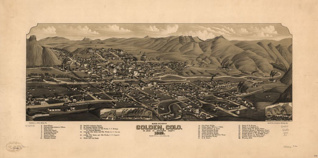 8 x 12 Reproduced Photo of Vintage Old Perspective Birds Eye View Map or Drawing of: Golden, Colo. co. seat of Jefferson County, 1882. Stoner, J. J. c1882