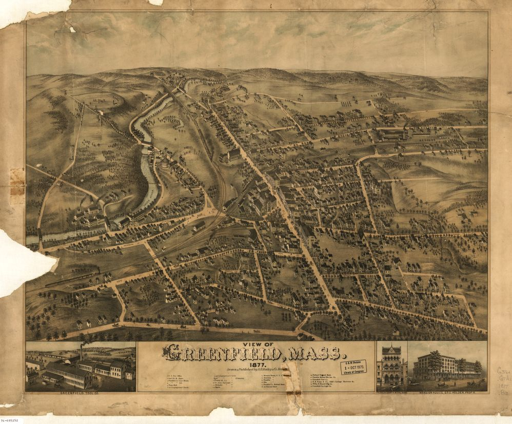 8 x 12 Reproduced Photo of Vintage Old Perspective Birds Eye View Map or Drawing of: Greenfield, Mass.  O.H. Bailey & Co.  1877