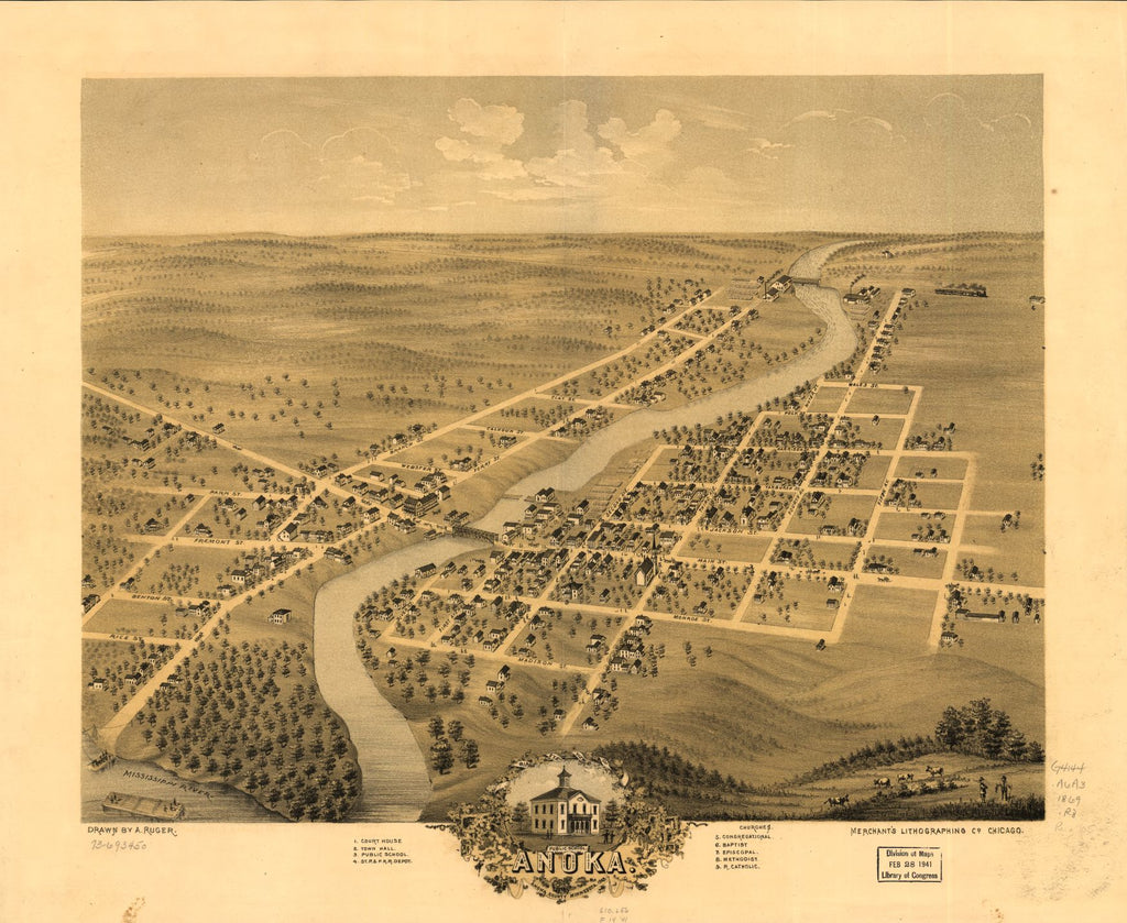8 x 12 Reproduced Photo of Vintage Old Perspective Birds Eye View Map or Drawing of: Anoka, Anoka County, Minnesota 1869. Ruger, A. 1869