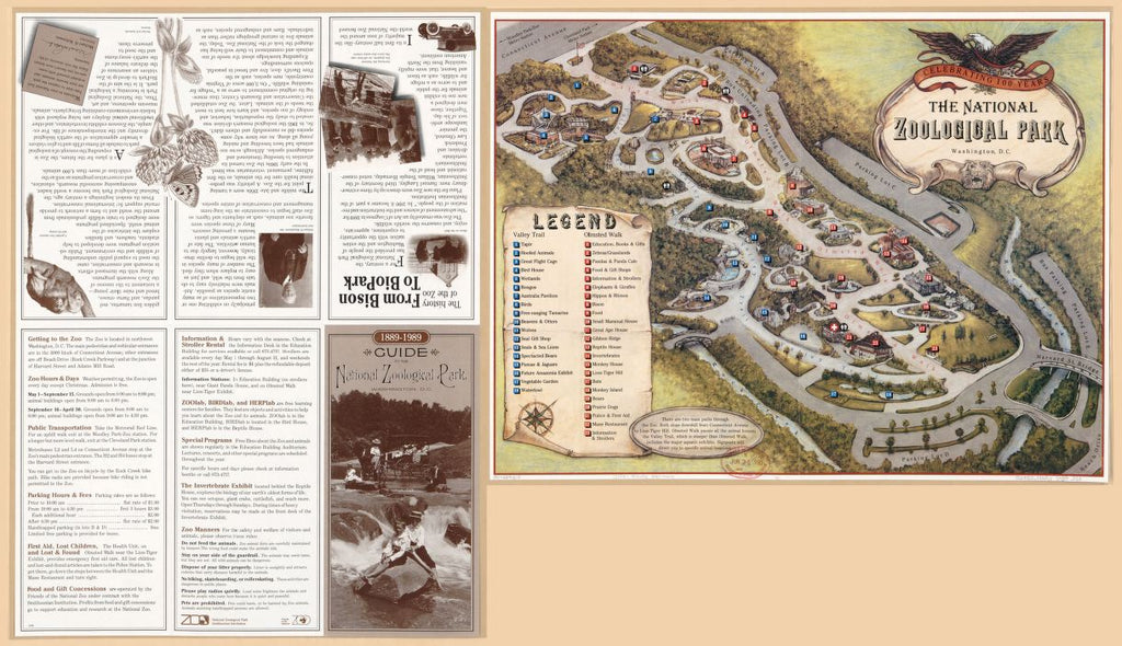 8 x 12 Reproduced Photo of Vintage Old Perspective Birds Eye View Map or Drawing of: Guide to the National Zoological Park, Washington, D.C. : 1889-1989. National Zoological Park (U.S.) - Friends of the National Zoo (U.S.) 1989