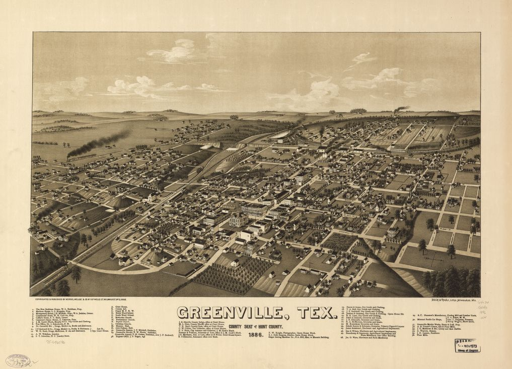 8 x 12 Reproduced Photo of Vintage Old Perspective Birds Eye View Map or Drawing of: Greenville, Tex., county seat of Hunt County 1886. Wellge, H. (Henry) c1885