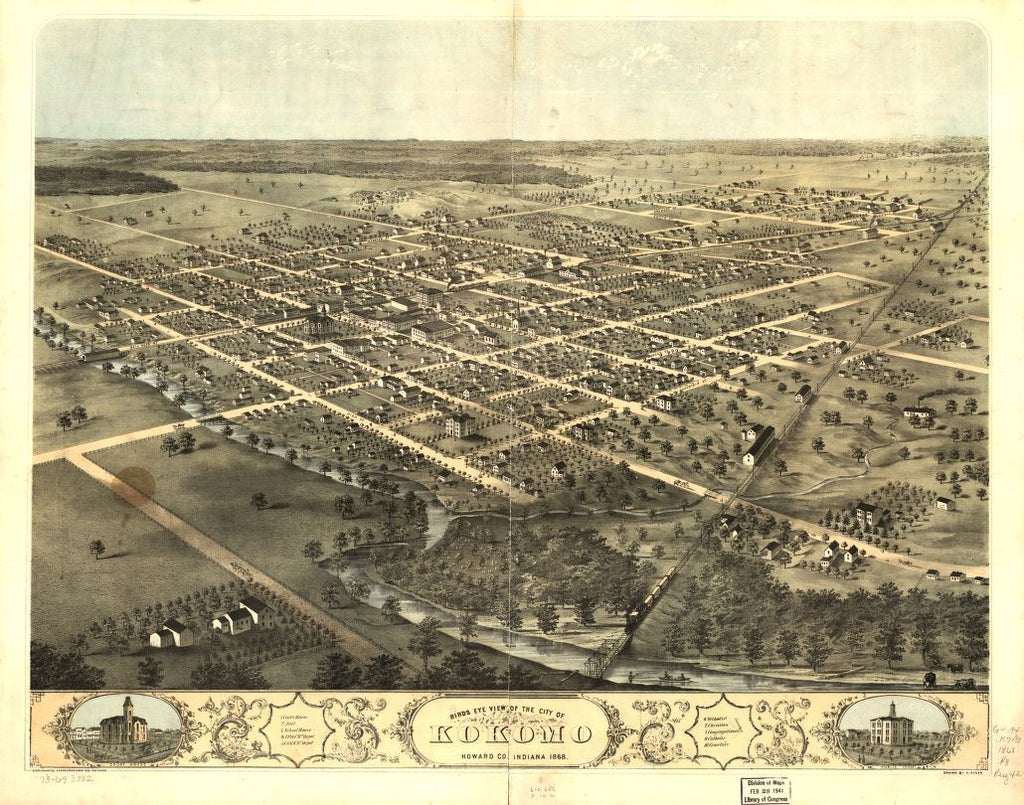 8 x 12 Reproduced Photo of Vintage Old Perspective Birds Eye View Map or Drawing of: Kokomo, Howard Co., Indiana 1868. Ruger, A. 1868