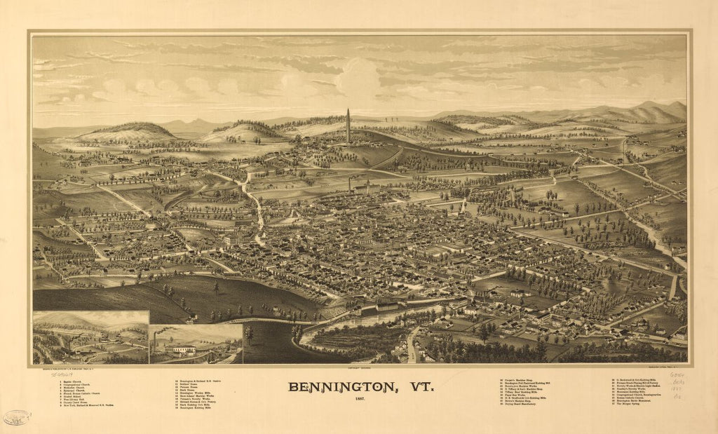 8 x 12 Reproduced Photo of Vintage Old Perspective Birds Eye View Map or Drawing of: Bennington, Vt. 1887.  Burleigh, L. R. (Lucien R.) - Burleigh Litho - Burleigh, L. R.  1887